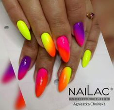 Want some ideas for wedding nail polish designs? This article is a collection of our favorite nail polish designs for your special day. Bright Gel Nails, Bright Summer Nails, Neon Nails, My Nails, Spring Nails, Neon Nail Designs, Short Nail Designs, Nail Polish Designs, Funky Nail Art