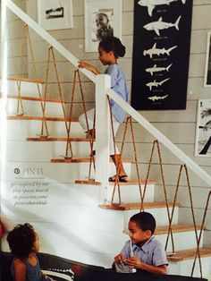 Nautical rope themed staircase handrail. Pottery Barn Kids