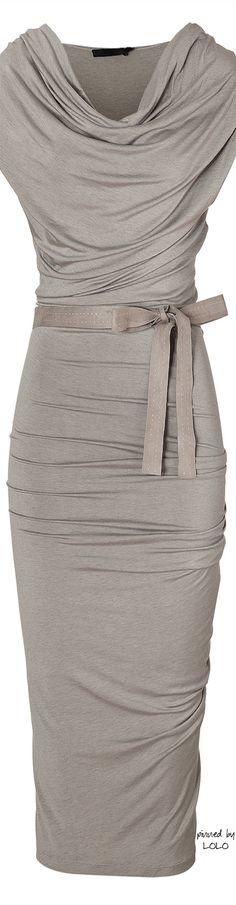 Donna Karan Hemp Draped Jersey Dress