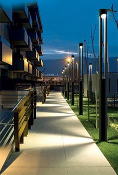 Love the simplicity and function from these BEGA light columns. Now THAT is an environmentally designed fixture. - Outdoor Lighting - Ideas of Outdoor Lighting Facade Lighting, Exterior Lighting, Outdoor Lighting, Lighting Ideas, Light Architecture, Landscape Architecture, Street Light Design, Landscape Lighting Design, Exterior Light Fixtures