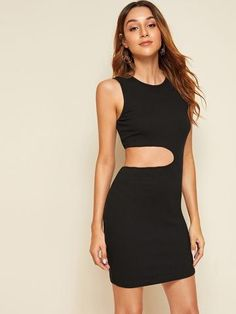 To find out about the Cutout Detail Rib-knit Tank Dress at SHEIN, part of our latest Dresses ready to shop online today! Ribbed Knit Dress, Rib Knit, Dress Outfits, Fashion Outfits, Hot Dress, Latest Dress, Cotton Dresses, Dresses Dresses, Tank Dress