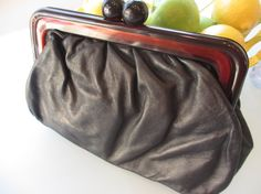 Vintage Black Leather Clutch with Lucite Handle by MemphisNanney, $12.75