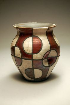 Raku Vase - Metallic Copper White Abstract Pattern - Art - Raku Pottery - Handmade