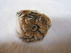 Jonquil  Antique Sterling Silver Spoon Ring by WoodsEdgeJewelry