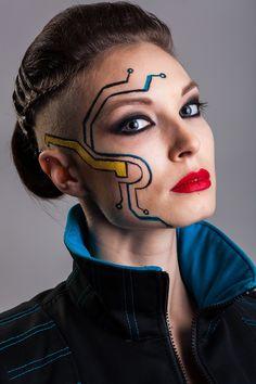 sci-fi, cyberpunk, futuristic  makeup