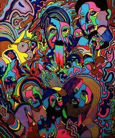 *The Bart Horror Picture Show* 46x55 Ivan de Nîmes - Peinture,  46x55 cm ©2016 par Ivan De Nîmes -                                                                                                                Art figuratif, Cubisme, Dada, Expressionnisme, Illustration, Peinture contemporaine, Street Art (Art urbain), Symbolisme, figuration libre, erro, combas, di rosa