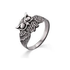 Sterling Silver Owl Ring ($22) ❤ liked on Polyvore