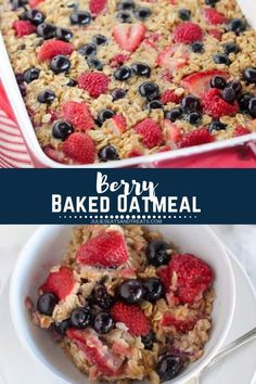 A delicious baked oatmeal recipe that is loaded with fresh berries. You can also substitute frozen berries in this oatmeal. It's the perfect healthy, filling breakfast and great for meal prep. Breakfast And Brunch, Breakfast Ideas, Frozen Breakfast, Brunch Ideas, Healthy Snacks To Buy, Healthy Baking, Healthy Filling Snacks, Recipes With Oats Healthy, Eating Healthy