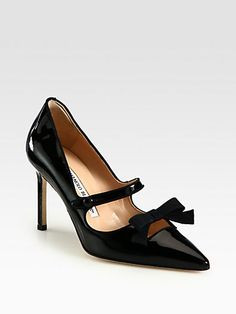 DESIGNER: MANOLO BLAHNIK DETAILS HERE: Patent Leather Mary Jane Bow Pumps