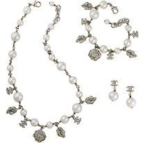 Chanel Pearl Necklace, Bracelet, and Earrings Set