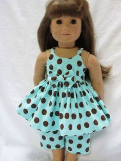 American Girl Doll Outfit - Aqua & Brown Polka Dot Capri Set for 18 Inch Dolls. Maybe I could figure out how to make this. So cute!