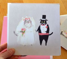 Wedding Cat Card  Square Card  Congrats by jamieshelman on Etsy