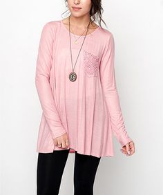 Love this Dusty Pink Crochet Pocket Tunic by Caralase on #zulily! #zulilyfinds