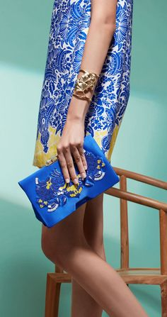 Palm Embroidery Silk Bamboo Clutch by Shanghai Tang