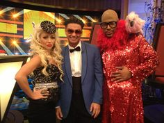 Kelly Ripa, DJ Pauly D, and Michael Strahan hanging out at the #LIVEHalloweenParty | To see more visit http://www.dadt.com/live/special/halloween/12/