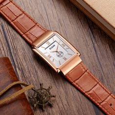 39.47$  Watch here - http://ai8uz.worlditems.win/all/product.php?id=32795202709 - DOM Men mens watches top brand luxury waterproof quartz leather gold watch men Square watches reloj M-289