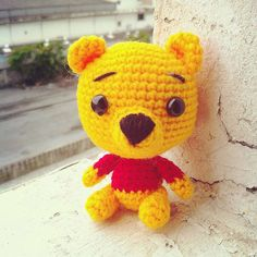 Winnie The Pooh Amigurumi    FINISHED DOLL  Ready to Ship  Height : 3.5 inches  Color : Photo Color    Made to order for other color  Process Time
