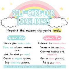 Not all loneliness is created equal.There are different types of loneliness. What do you need for your loneliness? Mental And Emotional Health, Mental Health Awareness, Emotional Healing, Coaching, Gewichtsverlust Motivation, Self Care Activities, Self Compassion, Self Care Routine, Coping Skills