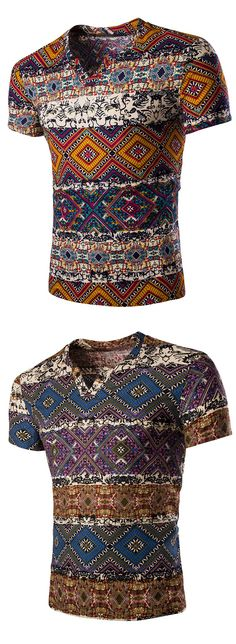 Tribal Print V Neck Tee Shirt