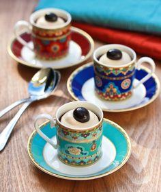 #ChocolateEspresso Pots de Creme #recipe pairs wonderfully with bright Samarkand cups