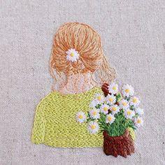* . 後ろ姿 .  #刺繍#手刺繍#ステッチ#手芸#embroidery#handembroidery#stitching#needlework#자수#broderie#bordado#вишивка#stickerei