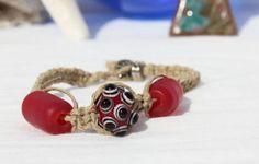 Hemp Bracelet Red Glass Beads Handmade by LaurasCozyCottage, $7.00