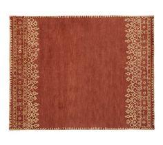 Desa Bordered Wool Rug - Terra Cotta | Pottery Barn  9x12 for living room or dining room