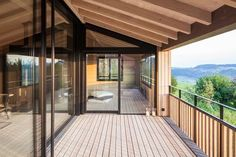 Images of a private home in Switzerland using number of different pur natur wood products: Solid Douglas floorboards, terrace boards and wall covering. Ikea Garden Furniture, Balcony Furniture, Natur House, Floating House, Empty Room, Rooftop Terrace, Old Building, House Goals, Home And Family