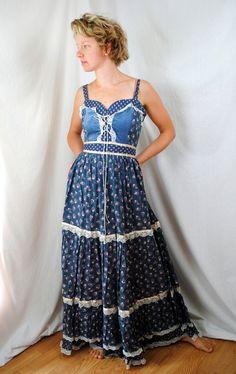 Vintage 1970s Gunne Sax Peasant Prairie Dress by RogueRetro, $150.00