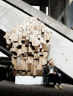 Cardboard Heaven - stacked to reach the sky by Nina Lindgren.