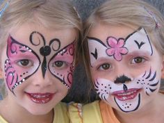 Very pretty kitty cat and butterfly face painting designs.