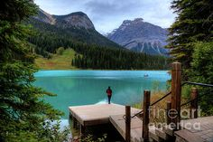 Woman Looking Emerald Lake Yoho National Park British Columbia by Photographer Wayne Moran