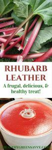 Homemade fruit leather is easy and so much better than store-bought! Plus, when you use rhubarb, you're actually getting in a serving of vegetables. Wooohoo! | healthy treats | low-sugar treats | homemade fruit leather | rhubarb recipes |