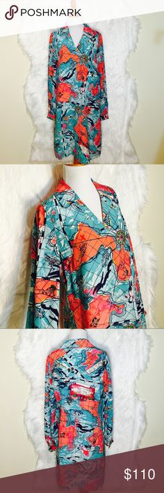 """Lilly Pulitzer X Marks The Spot Dress Unique print Lilly Pulitzer silk dress in a map print x marks the spot. Worn once- excellent condition (no belt). Flat across @ bust: 20.5"""", Lenght: 38"""". Lilly Pulitzer Dresses Mini"""