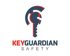 Key Guardian is a logo in the shape of a medieval helmet together with a key with red-orange and dark blue colors.(key, safety, gym, Academy, security, safeguard, guard, medieval, helmet, consulting).