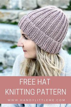 Learn how to knit a hat with this basic level beginner pattern. This unisex hat will look good knit in any colour! The free hat knitting pattern has a Knit Hat Pattern Easy, Slouchy Beanie Pattern, Easy Knit Hat, Free Knitting Patterns For Women, Beanie Pattern Free, How To Knit A Hat, Baby Hat Knitting Patterns Free, Beginner Knitting Patterns, Easy Knitting