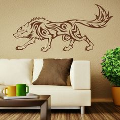 Tribal Wolf Animal Vinyl Decal Art Stylish Ahesive decor sticker Wall Stickers Home Decoration