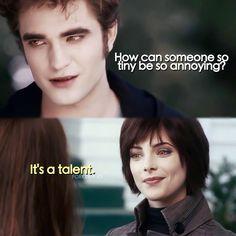 The Twilight Saga . How can someone so tiny be so annoying? It's a talent. Twilight Film, Twilight Jokes, Twilight Saga Quotes, Twilight Saga Series, Twilight Edward, Twilight New Moon, Alice Twilight, Jasper Twilight, Twilight Cast
