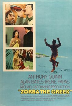 The film Zorba the Greek was a 1964 British-Greek comedy-drama starrring Anthony Quinn. I loved this film so much I bought the LP from the movie. Irene Papas, Academy Awards Best Picture, Alan Bates, Zorba The Greek, Best Picture Winners, English Writers, Anthony Quinn, Movies 2014, Film Base