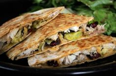 Leftover Turkey Quesadilla with Cranberries and Gouda