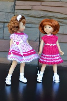 """This Pleated Woolen Dress fits 8"""" Heartstring dolls by D Effner. The pink-white short-sleeved pleated dress is made of baby's merino wool/microfiber yarn. The dress is fastened in the back with buttons and decorated with 3 white tiny buttons on the waist. 