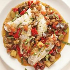 Steamed Fish with Ratatouille   MyRecipes.com #MyPlate #protein #vegetable