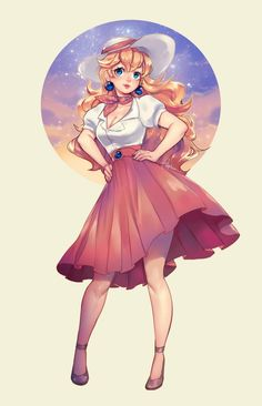 Peach wearing a White Short-Sleeve Blouse, Pink Knee-Length Skirt, Pink Scarf, White Summer Hat with Pink Trim, and Gray High Heels. Super Mario Brothers, Super Mario Bros, Super Mario Kunst, Super Mario Peach, Super Peach, Princesa Peach Cosplay, Malon Zelda, Game Character, Character Design