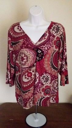 LANE BRYANT Womens 14/16 Red Black Tan Top Floral 3/4 Sleeves Polyester Spandex #LaneBryant #KnitTop #All