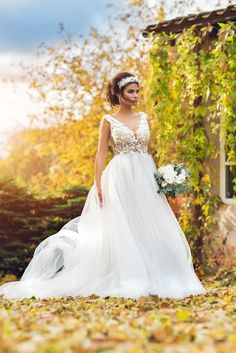 Beautiful Lace Top Tulle Skirt With Train Ball Gown Wedding Dress From Ingrida Bridal