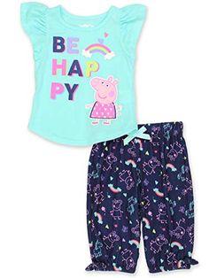 Komar Kids Peppa Pig Hooded Polyester Jersey and Fleece Hearts Pajama Shorts Set
