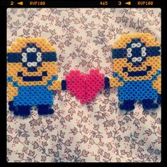 Minions Love perler beads by miss_boring