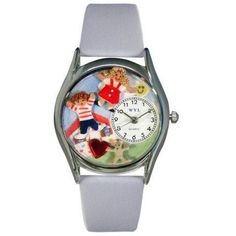 Whimsical Womens Day Care Teacher Red Leather Watch