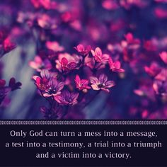 Only God can turn a mess into a message, a test into a testimony, a trial into a triumph and a victim into a victory. #TrustinGod #dailybibleverse