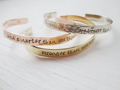 Set of three hand stamped hammered silver brass copper inspirational staked bracelets